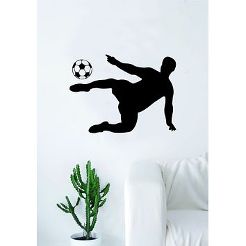 Soccer Player V3 Wall Decal Sticker Art Vinyl Home Decor Living Room Bedroom Sports Futbol Fifa Ball Kick Goalie