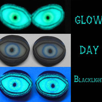 Glow in the Dark Eyeball earrings Halloween Jewelry EyeGloArts Handmade in the USA Blacklight Jewelry
