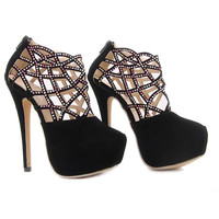 Gorgeous Women's Pumps With Rhinestones and Openwork Design