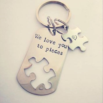 Personalized Puzzle Piece Dog Tag Key Ring with Small Puzzle Piece Option