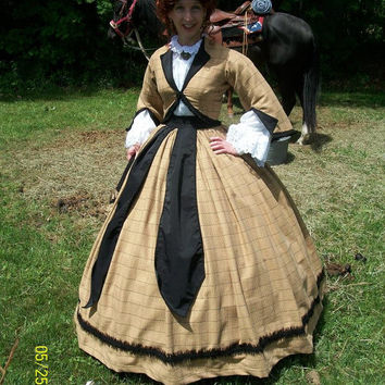 FOR ORDERS ONLY - Custom Made - 1800s Victorian Dress - 1860s Civil War Zouave Jacket Skirt Belt Sash- Reenactor Traveling Suit