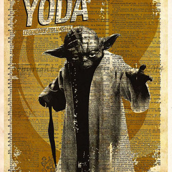 Star Wars Art, Yoda,  Vintage Silhouette print, Retro Star Wars Art, Dictionary print art