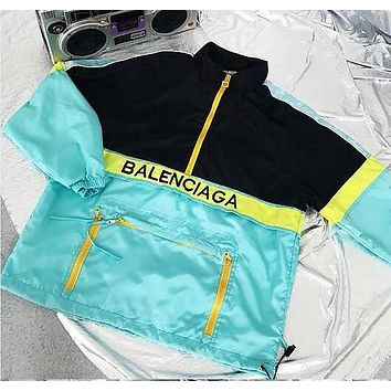 Balenciaga New Fashion Women Men Casual Half Zipper Color Matching Thin Sweatshirt Jacket Coat
