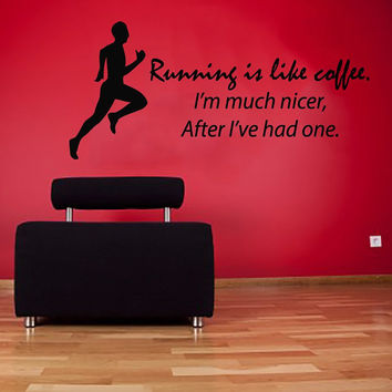 Wall Decals Vinyl Decal Sticker Sport Quote Running Is Like Coffee Boy Athlete Fitness Art Home Interior Design Living Room Gym Decor KT68