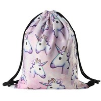 Women unicorn Backpack 3D printing travel softback  women mochila drawstring bag