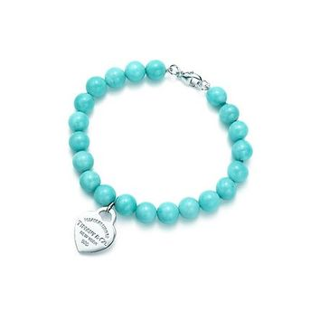 Tiffany & Co. -  Return to Tiffany™ small heart tag in silver on an amazonite bead bracelet.