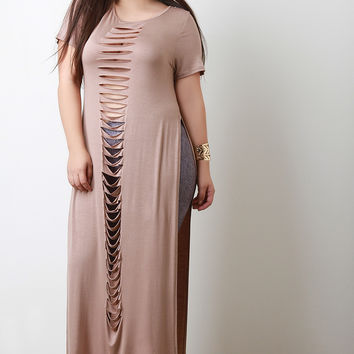 Slashed Deep Slit Short Sleeves Maxi Top