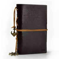 ZLYC Vintage String Mediterranean Style Anchor Loose-leaf Handmade Refillable PU Leather Journal Diary Notepad Notebook Dark Coffee