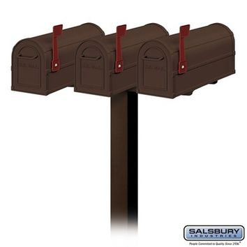 Salsbury Industries Three (3) Heavy Duty Antique Rural Mailboxes with Spreader - 3 Wide and Standard Post - In-Ground Mounted - Bronze
