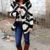 From Beige To Black {Aztec Cardigan}