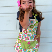 Childs Apron Reversible Girls Cooking Apron with Kittens