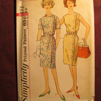 SALE Uncut 1960's Simplicity Sewing Pattern, 4860! Size 18 Bust 38 Large/XL/Women's/Misses/Short Sleeve Straight Dress/Wrap Around Style/But