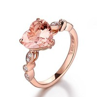 Heart Shaped Morganite Engagement Ring Pave Diamond Wedding 14K Rose Gold 8mm,Art Deco Antique