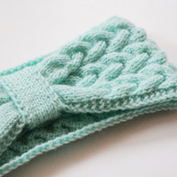 Winter teal mint knit headband women head accessory knitting knitted hair ear warmer turban Tiffany blue Winter fashion trends gift for love