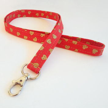 Heart Lanyard / Hearts Keychain / Red Lanyard / Key Lanyard / Gold Hearts / ID Badge Holder / Valentine's Day / Cute Lanyard / Valentine