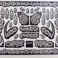 5 A3 SHEETS Self Adhesive Decal Stencils For Henna Temporary Tattoo Reusable DIY 126
