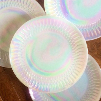 1960's -Set of 4-Moonglow Dinner Plates by Federal Glass, Iridescent, Opalescent, Mid Century