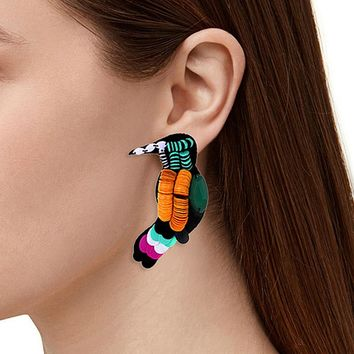 ZHINI Hot Sell Acrylic Punk Rock Stud Earrings Nightclub Exaggeration Dangle Birds Parrot Stud Earring For Women Fashion Jewelry