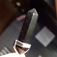 Obsidian crystal point pendant