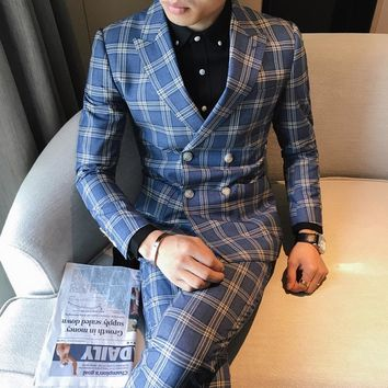 3 piece tweed suit men's plaid suit jacket 3XL 4XL khaki gray blue groom wedding dress suit men's self-cultivation