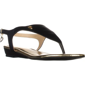 TS35 Isaa Thong Wedge Ankle Strap Sandals, Black, 5 US
