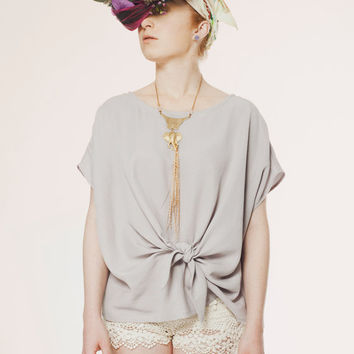 Silky Bow Top - Loose Fit Women Shirt - Drapy Tencel Oversized Shirt - Pastel Cap Sleeve Self - Waist Knot