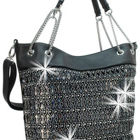 * Rhinestone and Iridescent Layered Shopping Tote In Black