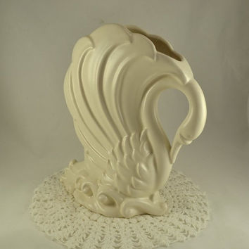 SWAN Planter Vase  - LARGE Matte White Art Pottery - Swan on Waves Vase - 12 Inches Tall 10 Inches Wide - Showpiece