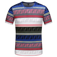 Fendi 2019 new double F pattern printing men's multi-color stitching round neck half-sleeved T-shirt