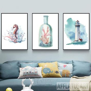Nordic Posters And Prints Seahorse Lighthouse Canvas Painting Watercolor Landscape Wall Art Painting For Living Room