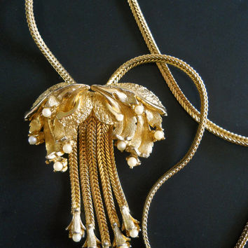 Gold Plate Flower TORTOLANI Necklace, Faux Pearl, Chain Tassels, Vintage