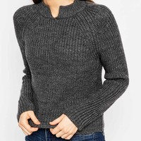 ASOS Cropped Sweater In Rib With Notch Neck Detail