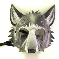 Leather Gray Wolf Mask