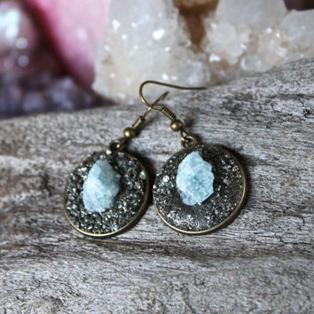 Blue Aquamarine Earrings - Raw Stone Jewelry - March Birthstone bdf203479