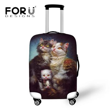 FORUDESIGNS Vintage 3D Painting Travel Accessories Thick Elastic Luggage Protective Covers Dust Proof Trunk Case for 18-30 Inch