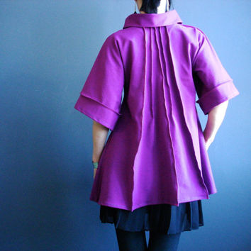 Magenta Tunic Dress, Womens Handmade Trapeze Tunic, Loose Fit Jersey Cowl Dress, Half Bell Sleeves, Mod Style Mini Dress, Retro Futuristic