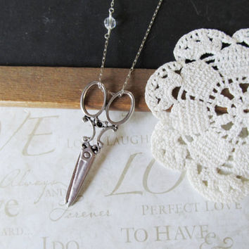 SNIP antique scissors necklace long layer silver by brideblu