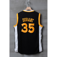 Warriors #35 Kevin Durant Jersey Black with White Basketball Jerseys Men's Uniforms Stitched Name and Number