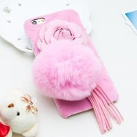 Pink Fur Ball Phone Cases for iPhone 7 / Plus