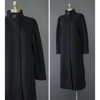 80s Coat - Black Wool Coat - Long Black Coat - Winter Coat - 1980s Coat - A Line Puff Sleeve Coat - High Collar Coat - Long Wool Coat - S/M