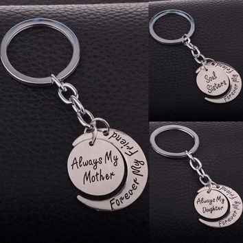 Forever My Friend Moon Charms Keychain Always My Mother Daughter Sister Key Chain Women Family Keyring Jewelry Mom Girls Gifts