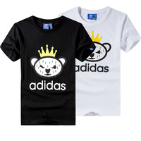"""Adidas"" Unisex Fashion Casual Letter Cartoon Pattern Print Short Sleeve T-shirt Couple Shirt Top Tee"