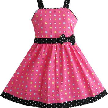 Girls Dress heart print pink Children Clothes  Christmas gift Cotton 2018 Summer Princess Wedding Party Dresses Size 4-12