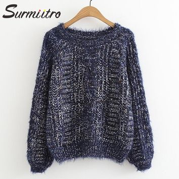 Surmiitro Mohair Sweater Female For Winter 2018 Autumn Fashion Korean Knitted Jumper And Pullover Female Lady Tricot Pull Femme