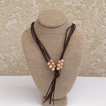 Teething Necklace. Faux Suede Leather. Wood Beads Tassle, Nursing Necklace for Toddler, Unique Gift Idea for Baby Shower, New Mom, Chewelry