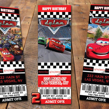 Cars Birthday Invitation Ticket Lightning McQueen