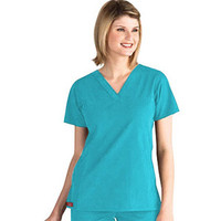 Everyday Scrubs by Dickies Womens Baby Twill Stylized V-Neck Solid Scrub Top