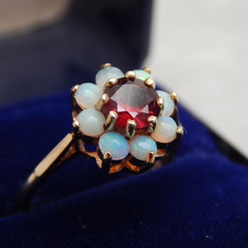 fine opal & garnet 9ct gold daisy cluster ring - vintage 1960s