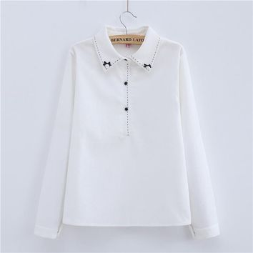 Women Blouse 2017 New Fashion Autumn Casual Long Sleeve Cotton Preppy Turn-down Collar Pearls Bow Womans Shirts Hot Sale T77715A