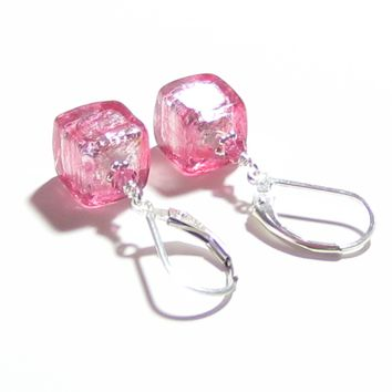 Murano Glass Pink Cube Sterling Silver Earrings, Italian Jewelry